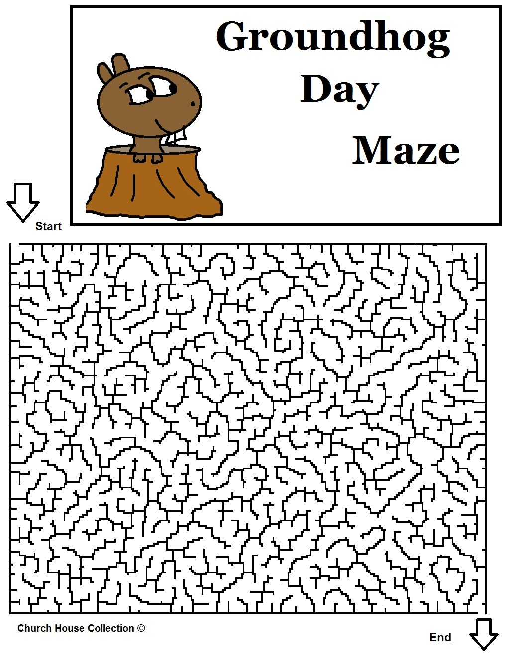 Free coloring page groundhog day - Groundhog Poking Head Out