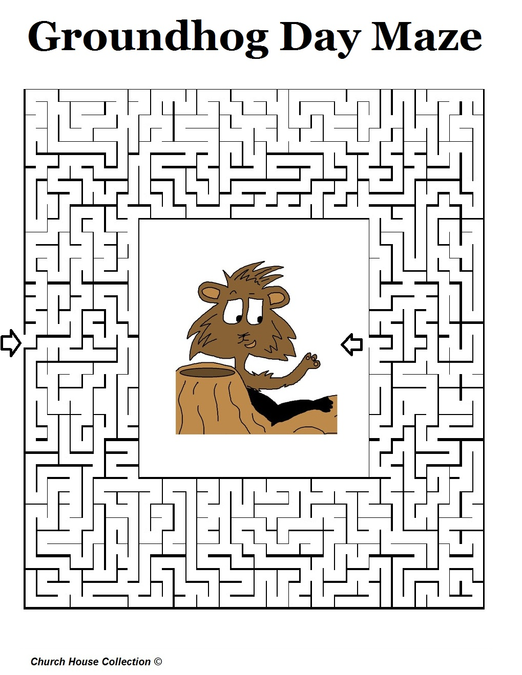 Free coloring page groundhog day - Groundhog Sees Shadow