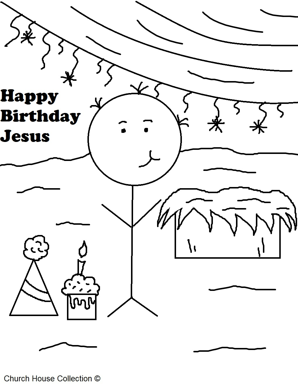 "Free Christmas ""Happy Birthday Jesus"" Coloring Pages For Kids in Sunday School or Children's Church by Church House Collection"