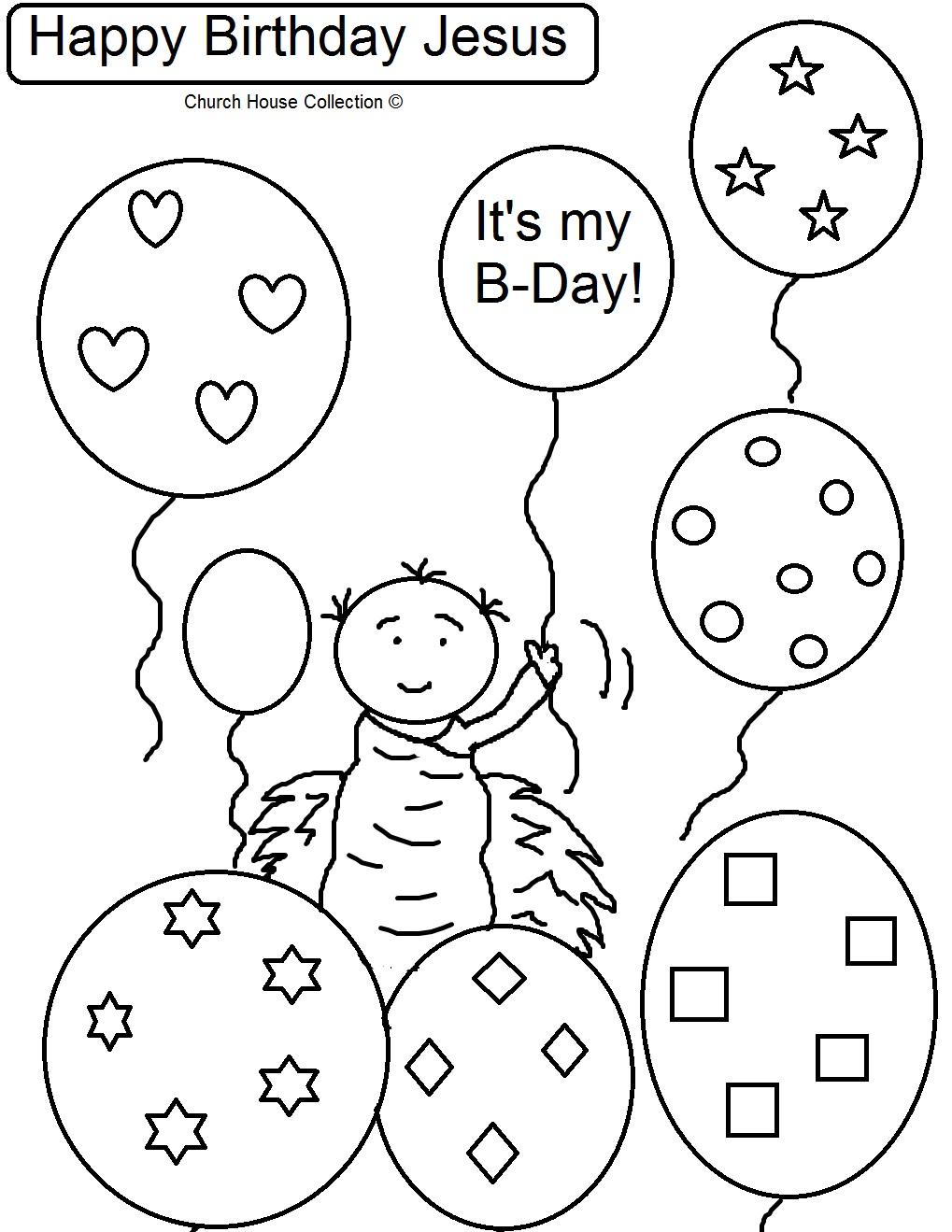Happy Birthday Jesus Holding Balloons