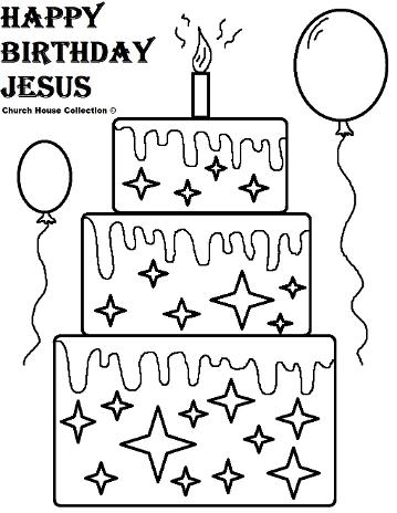 Happy Birthday Jesus Cake Coloring Pages