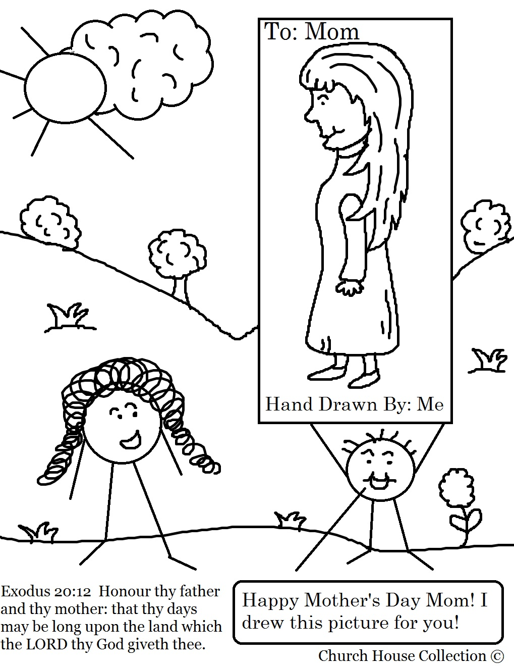 Mothers day coloring sheets for sunday school - Mother S Day Coloring Pages For Sunday School Mother S Day Little Kid Drew Mom A Picture Coloring Page