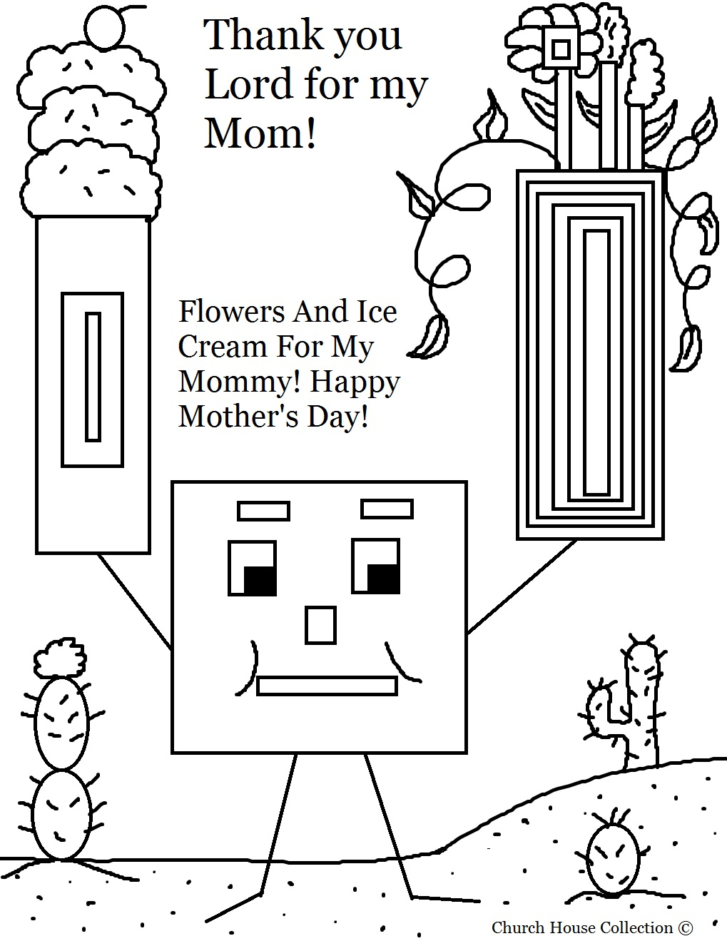 mothers day square with ice cream and flowers coloring page - Coloring Pages Mothers Day