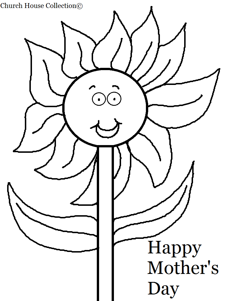 Black And White Printable Version Back To Mothers Day Coloring Pages