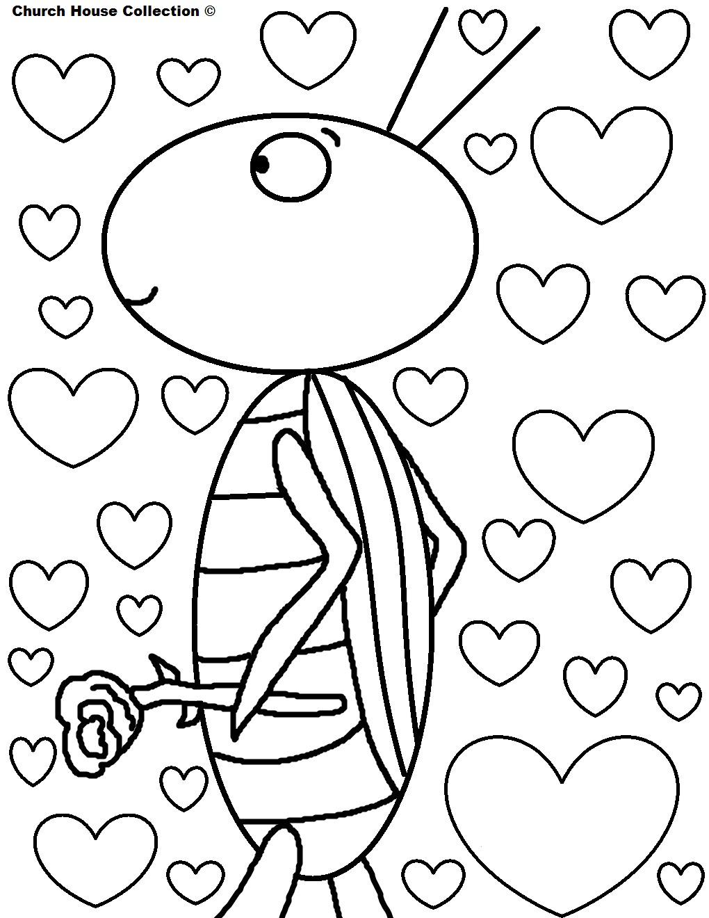 Free color pages for valentines - Happy Valentine S Day Coloring Pages Grasshopper With Hearts Grasshopper