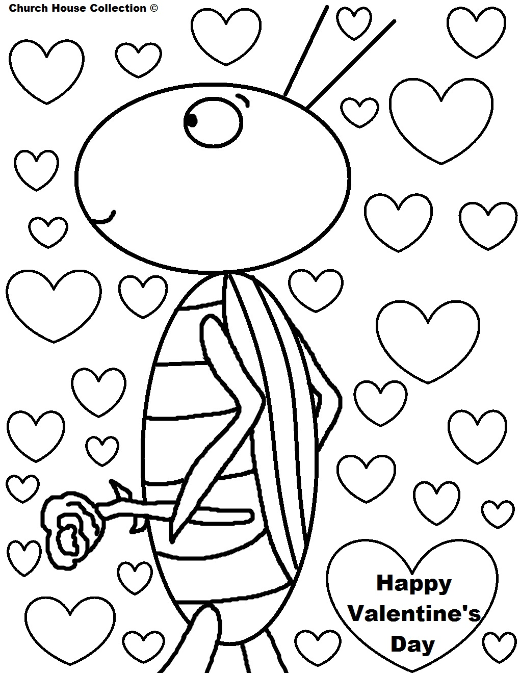 happy valentines day coloring pages grasshopper holding a rose with hearts grasshopper