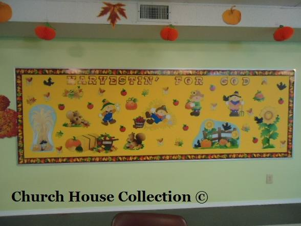 Fall Bulletin Board Ideas For Sunday School Children's Church- Harvestin For God- Pumpkins and Scarecrows