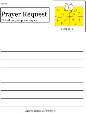 Hay Bale Prayer Request sheet for kids in Sunday school
