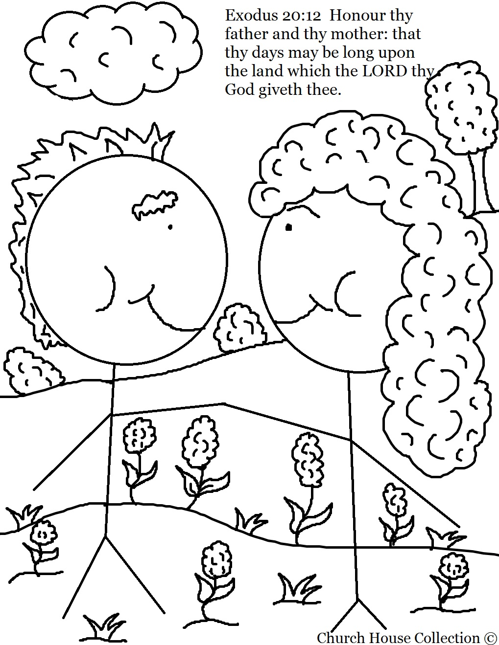 Honor thy father and thy mother coloring page for 1st commandment coloring page