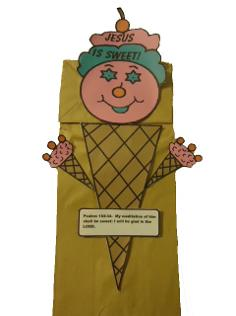 Ice Cream Cone Paper Lunch Bag Craft