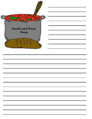 Jacob and Esau Soup Printable Writing Paper For Sunday School