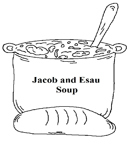 Jacob and Esau Soup Coloring Page for kids by Church House Collection- Go with Jacob and Esau Sunday School Lesson plan for children