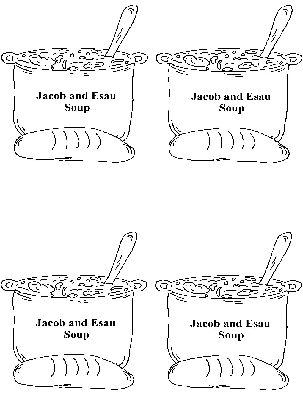 large jacob and esau templates color black white
