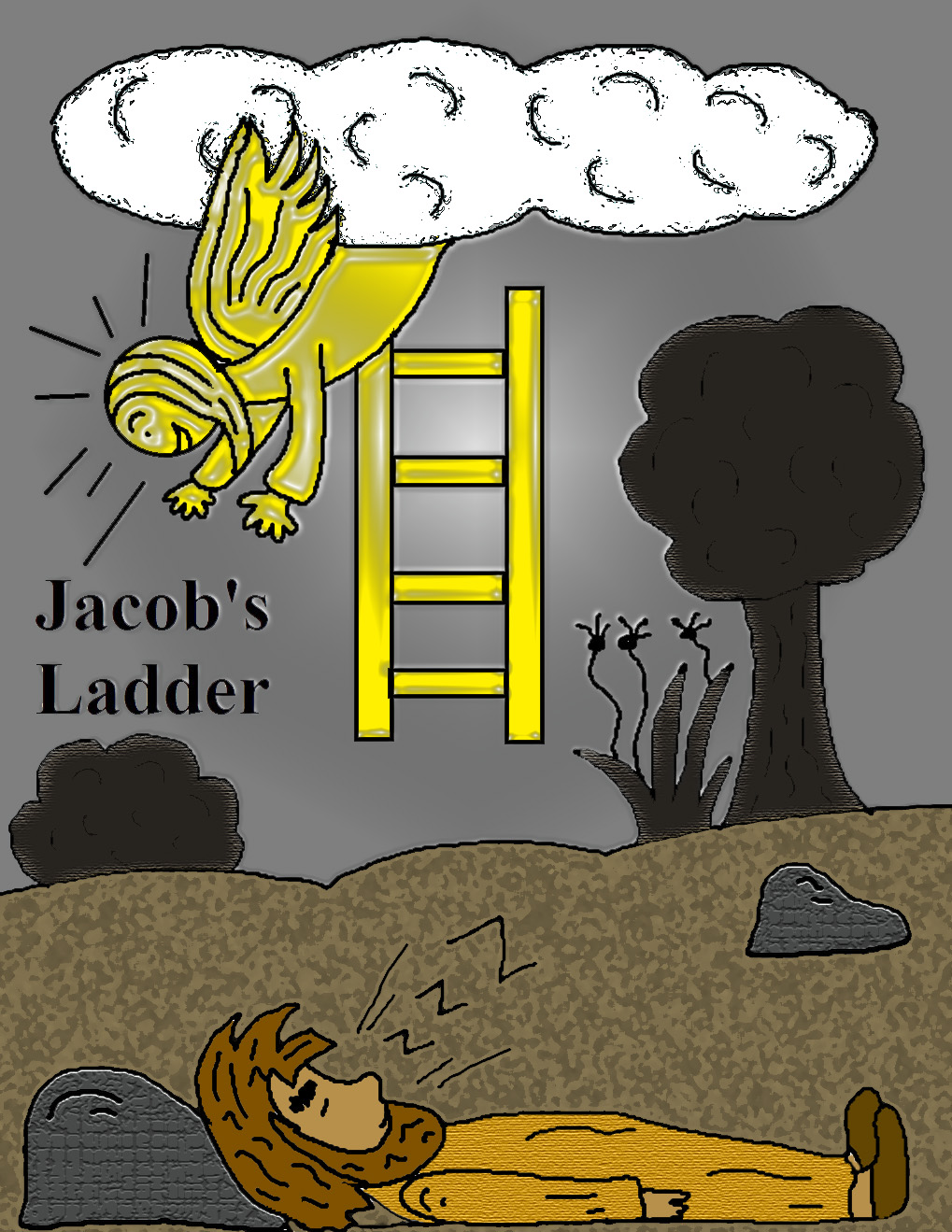 Jacob's Ladder in Jacob and Esau Coloring Page - NetArt | 1319x1019