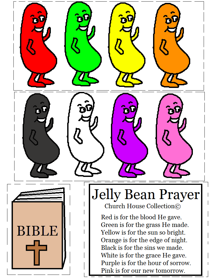 Jelly Bean Prayer Cutout Activity For Kids. Free Printable Template.