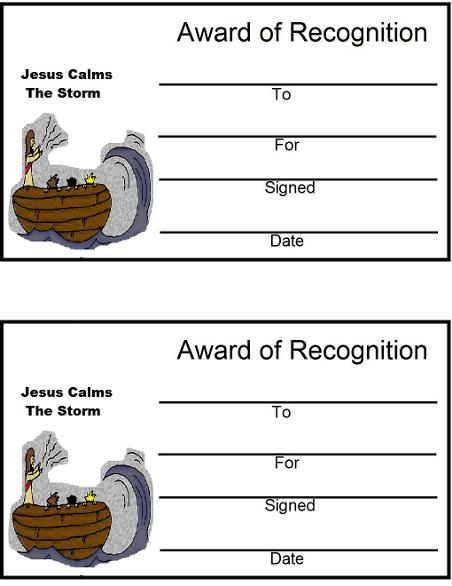 Jesus Calms the Storm Award certificate sunday school lesson