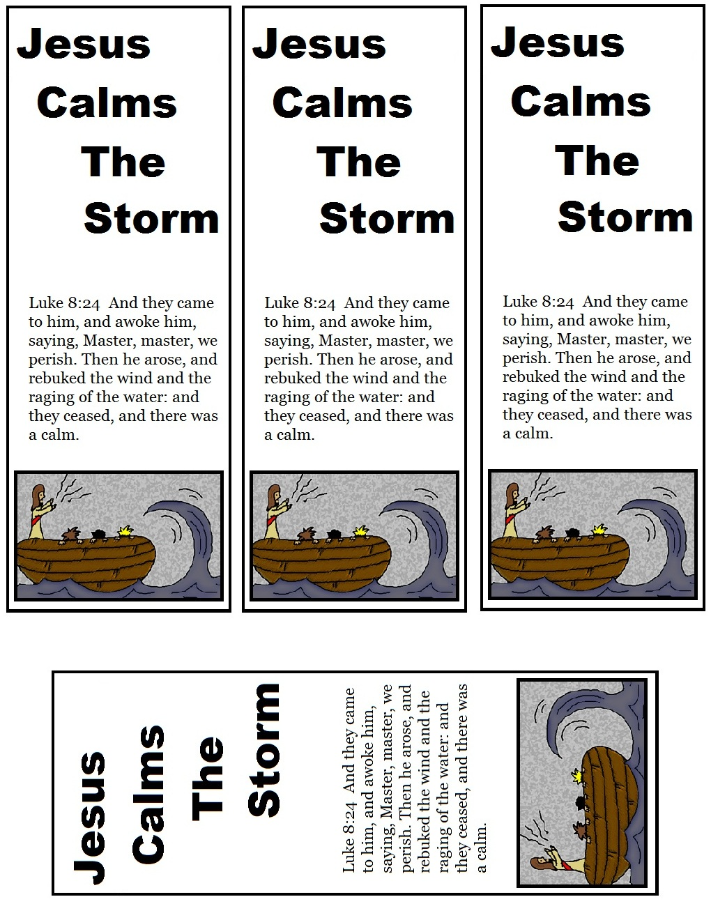 Free coloring pages jesus calms the storm - Jesus Calms The Storm Bookmarks Colored