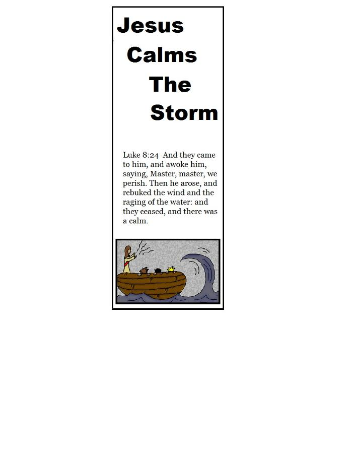 Jesus Calms The Storm Sunday School Lesson Plan By Church House Collection© Free Printable Bookmark