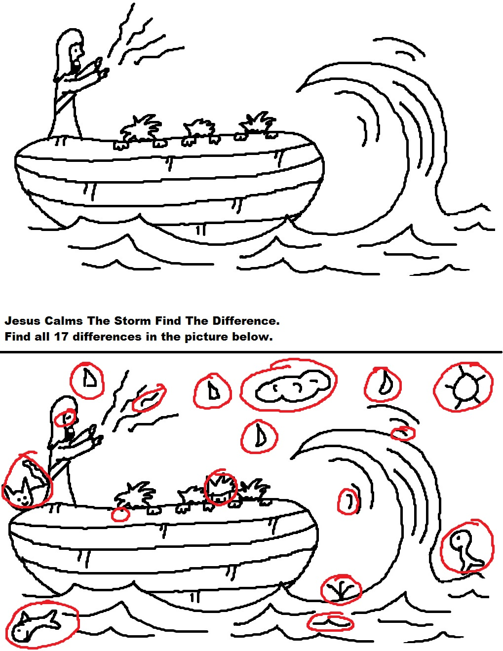 Jesus Calms The Storm Find Difference Answer Key