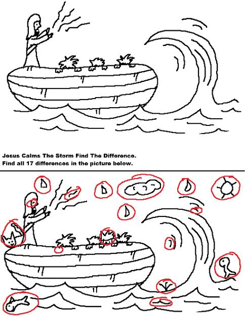 Jesus Calms The Storm  Find The Difference Answer Key