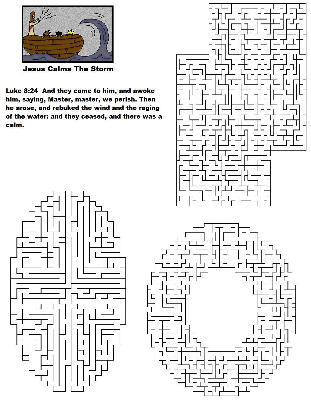 Free coloring pages jesus calms the storm - Jesus Calms The Storm Maze