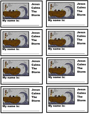 Jesus Calms The Storm Name Tags