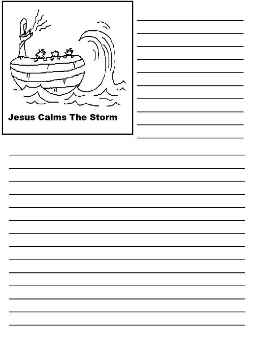 Jesus Calms The Storm Printable Writing Paper
