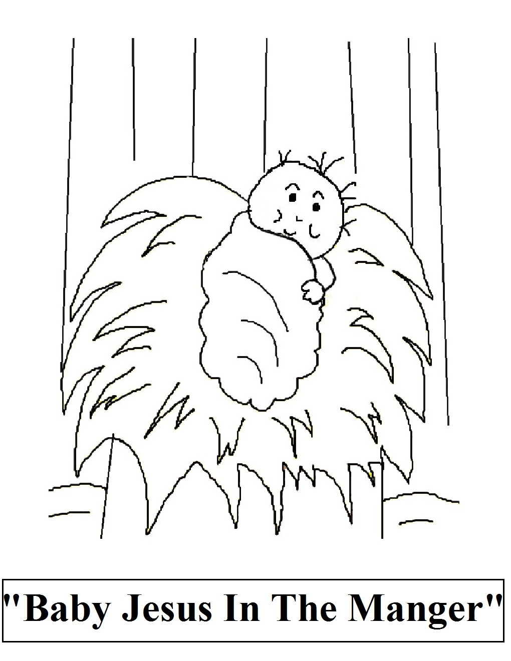 free printable baby jesus in the manger christmas coloring page for ...