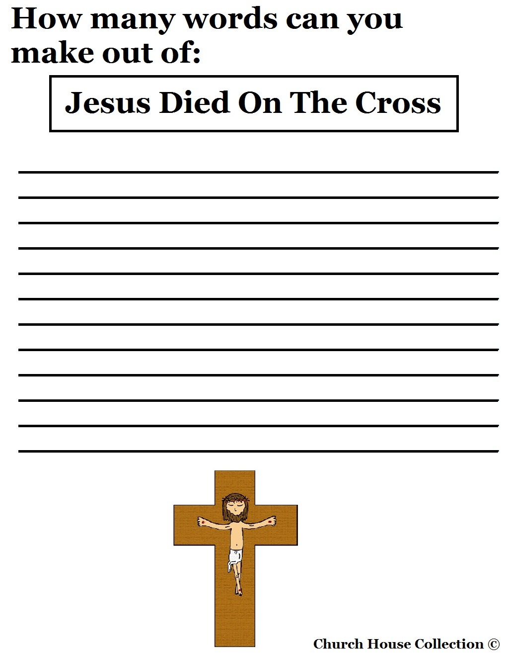 jesus died on the cross sunday lesson