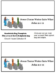 Jesus Turns Water Into Wine Snack Idea Ziplock Bag Template