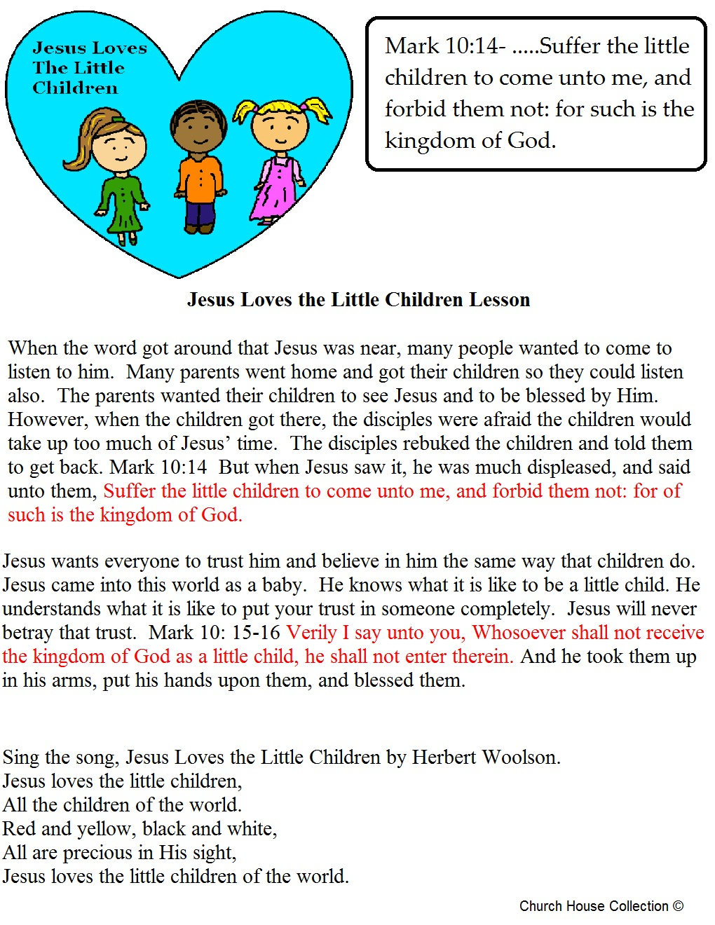 Junior church lessons and crafts - Sunday School Lesson Print Out