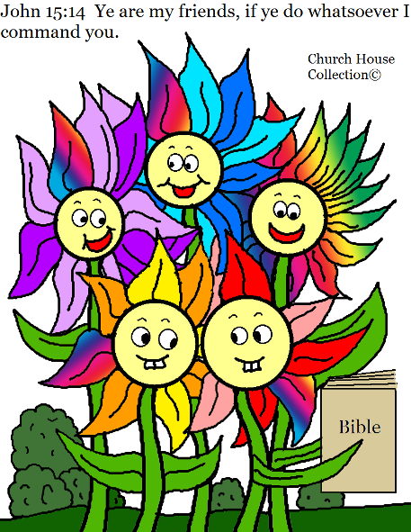 Flower Family Coloring Page for kids in Sunday School. John 15:14 by Church House Collection©