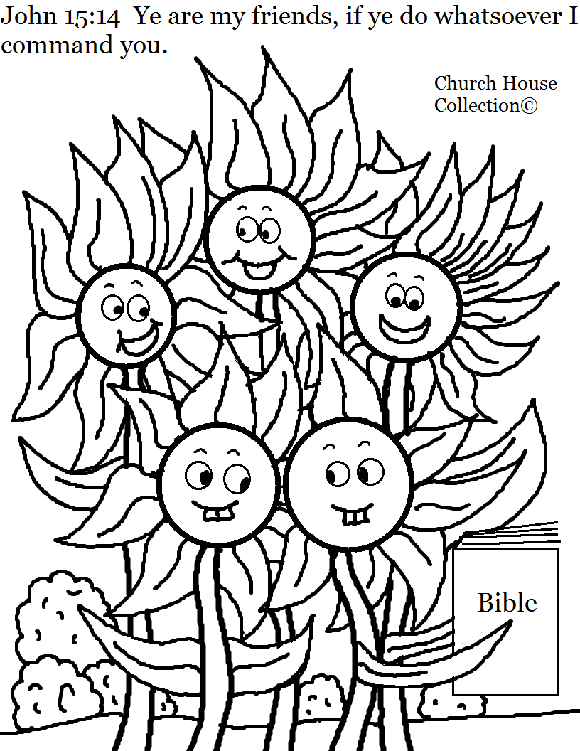 flower family coloring page for sunday