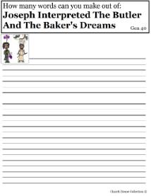 Joseph Interpreted The Butler And The Baker's Dreams Worksheet- How many words can you make out of