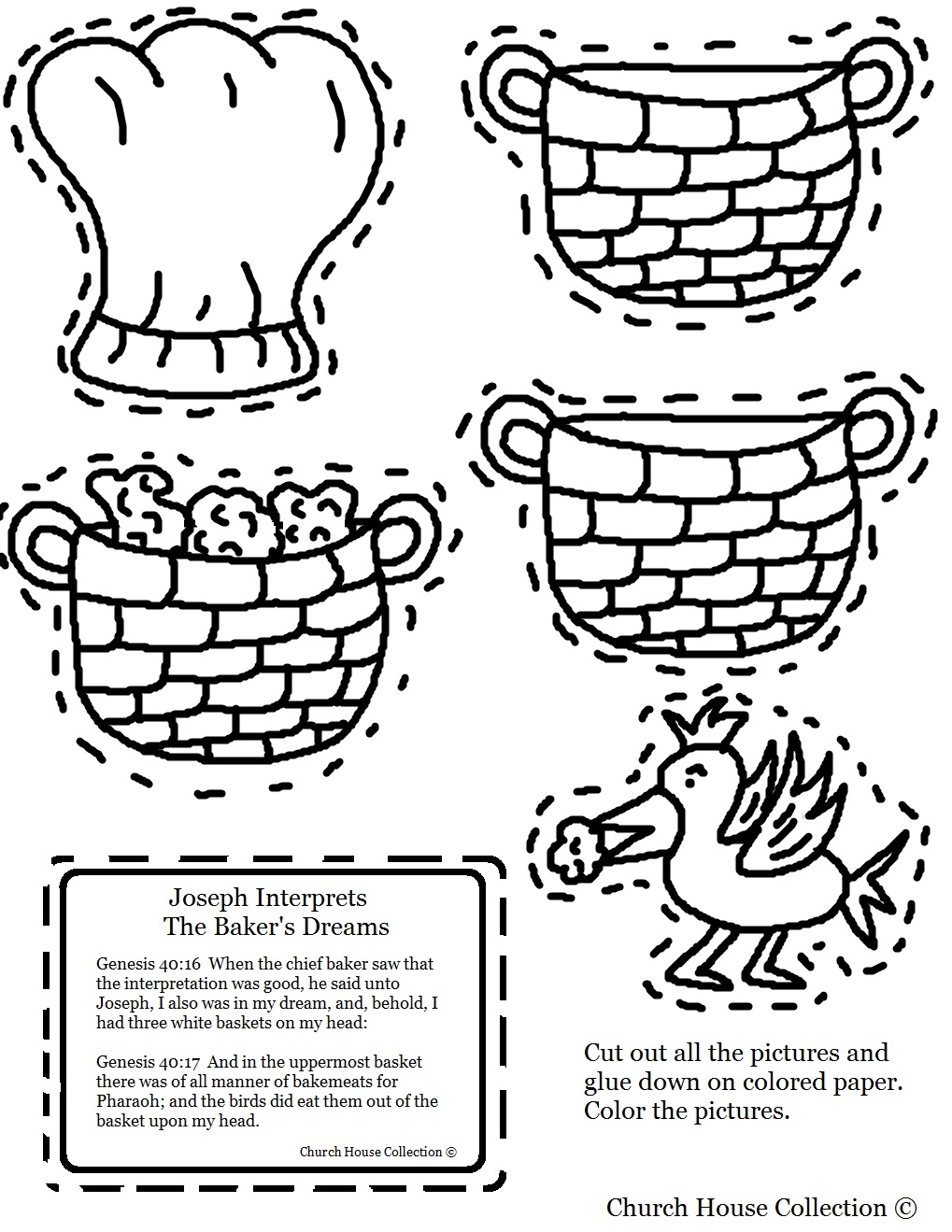 Joseph interprets the baker 39 s dream cutout sheet for Joseph in jail coloring page