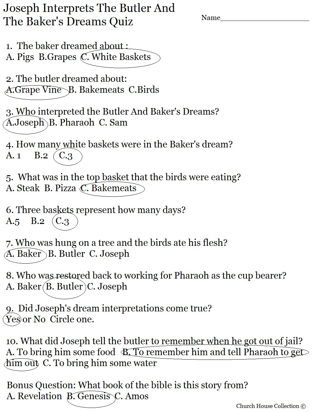 Joseph Interprets Butler And Bakers Dream Quiz