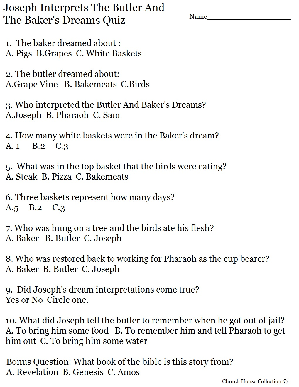 Joseph Interprets Butler And Baker's Dream Quiz