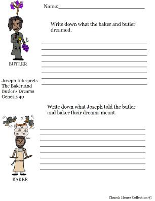 Joseph interprets the butler and baker's dream activity sheet