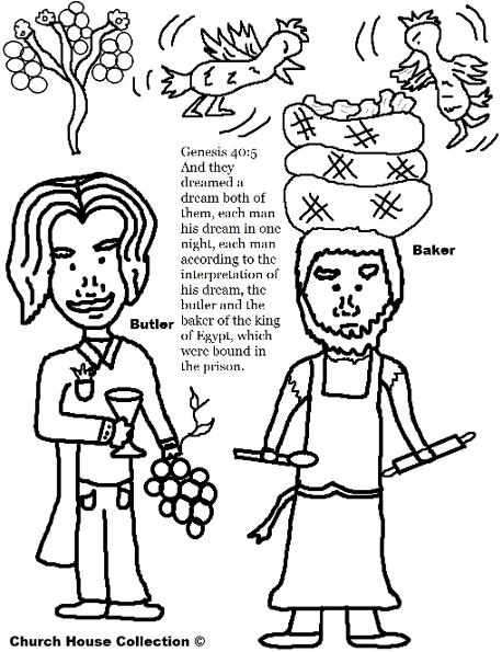 Joseph Interprets The Butler and bakers dreams coloring pages