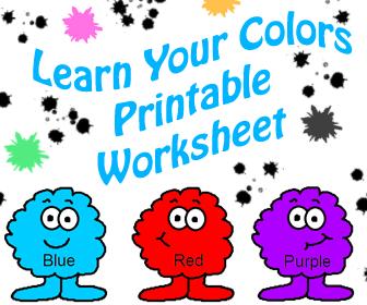 Learn Your Colors Preschool Kids Worksheet