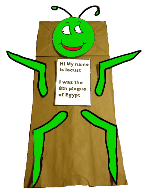 The 10 Plagues of Egypt Locust Paper Lunch bag craft