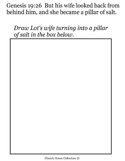 Lot's wife turned into a pillar of salt drawing activity sheet
