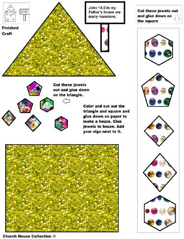 Mansions in Heaven and streets of Gold activity cutout sheet