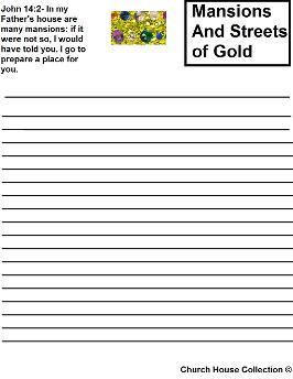 mansions and streets of gold printable activity