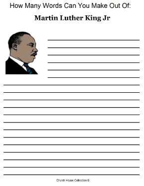 Martin Luther King Jr Activity Sheet For School Kids