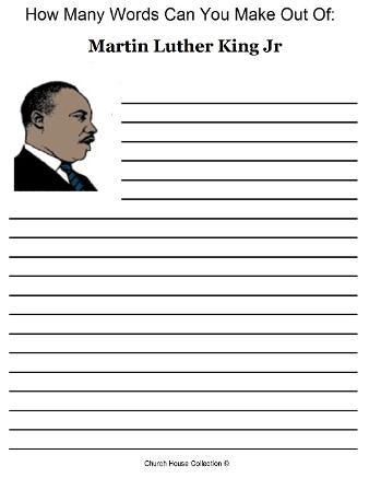 Martin Luther King Jr Activity Sheet How many words are in martin luther king jr