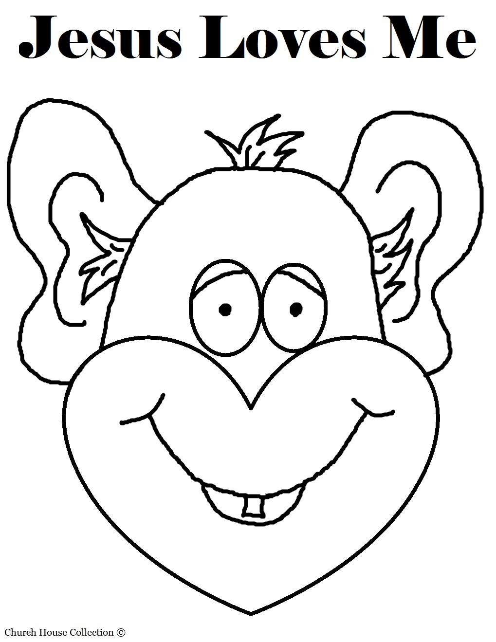jesus loves me monkey coloring page with words