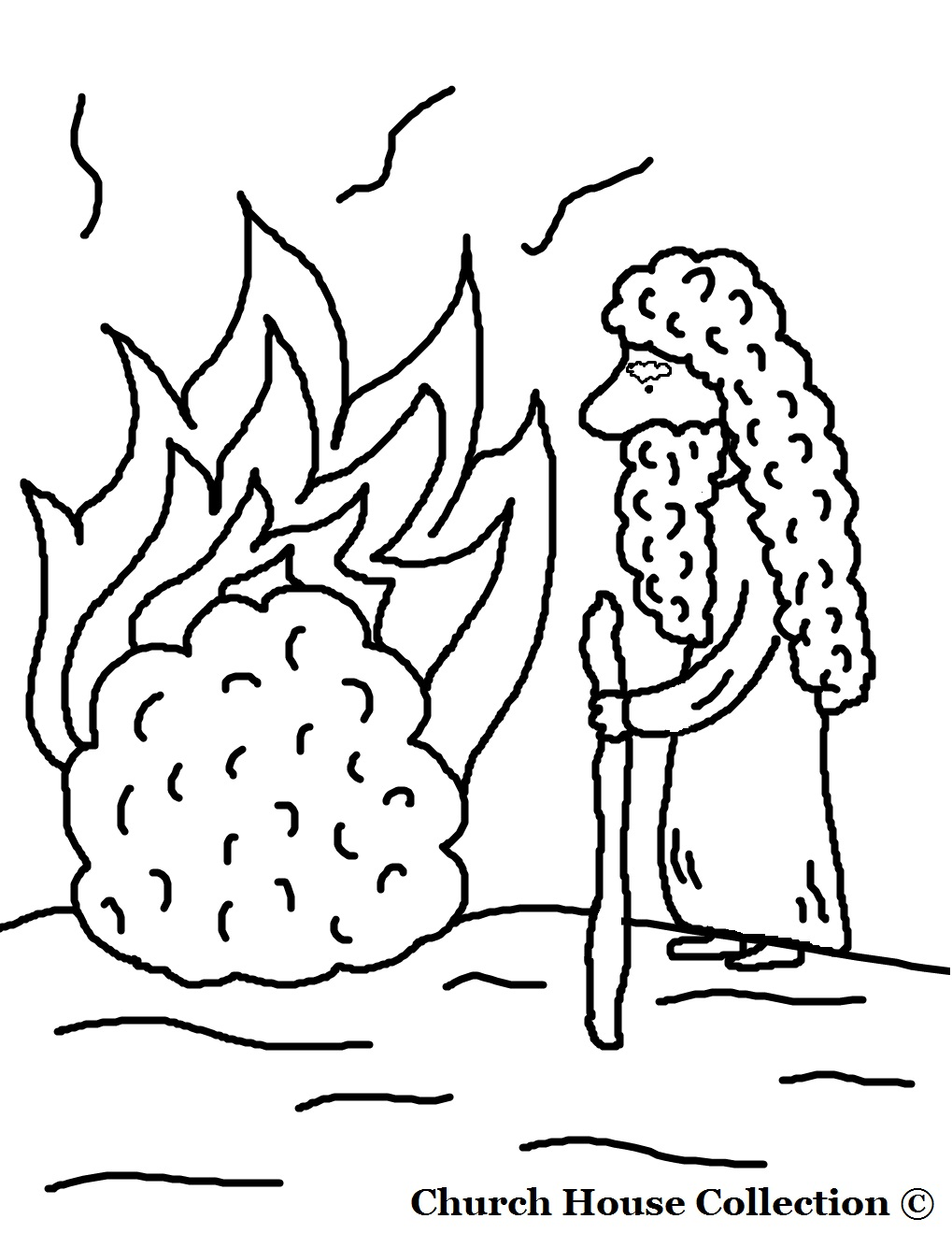 moses and the burning bush coloring page without words