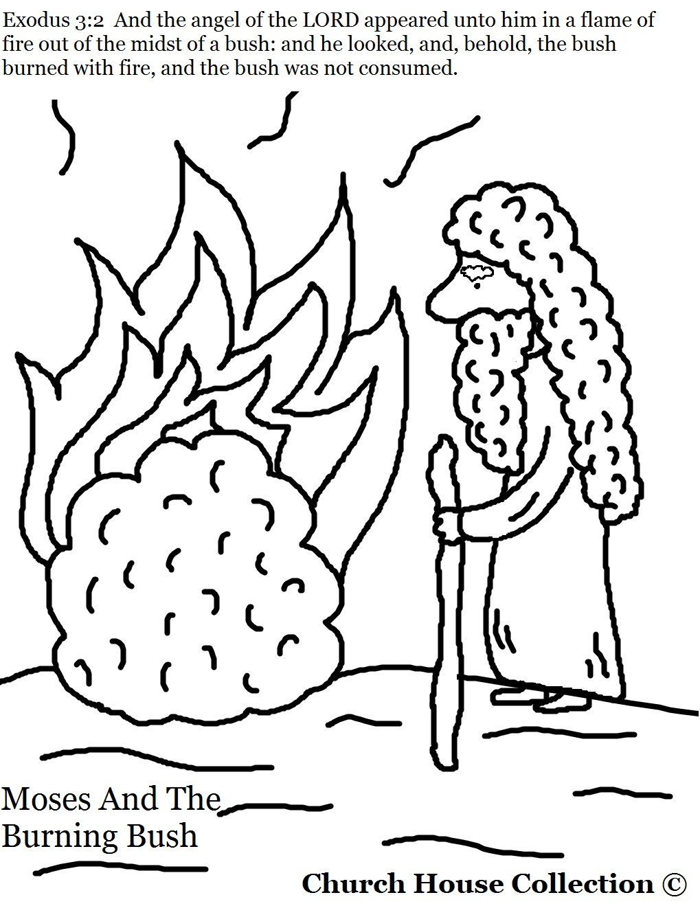 Moses And The Burning Bush Coloring Page Exodus 32
