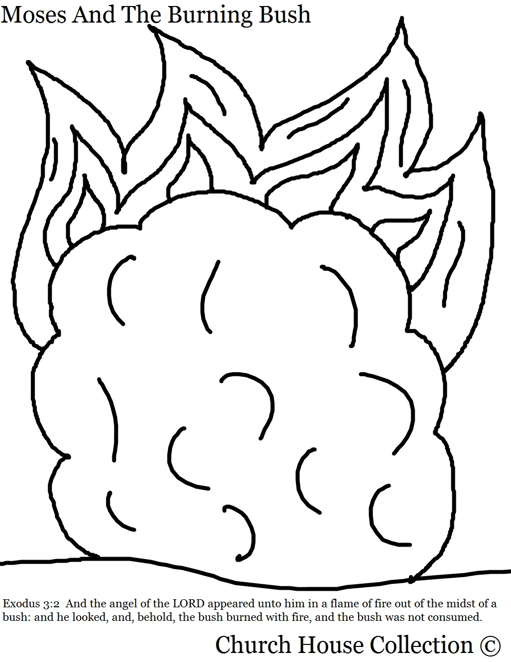 Printable coloring pages moses burning bush -  Coloring Page Moses And The Burning Bush With Scripture Exodus 3 2